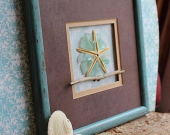 Starfish , Seaglass and Driftwood Wall Art , Beach Decoration , Mermaid home decor