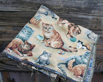 Cat and Kitten Upholstery Fabric