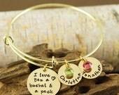 15% OFF SALE Personalized Bangle Bracelet, I love you a bushel and a peck Jewelry - Gold Bangle Charm Bracelet - Name Bracelet