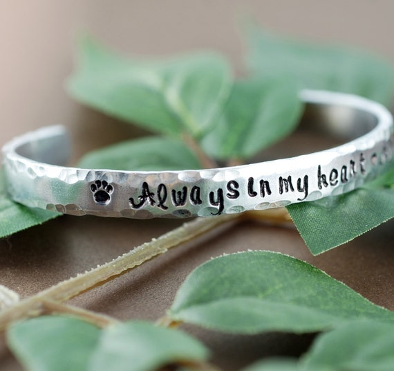 Dog Paw Cuff Bracelet, Personalized Silver Cuff Bracelet, Always in my heart, Pet Memorial Bracelet, Pet Loss Jewelry, Animal Lover Gift