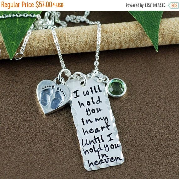 15% OFF SALE Hand Stamped Necklace | I will hold you in my heart until I can hold you in heaven  | Memorial Necklace | In Memory Of | Bar Ne
