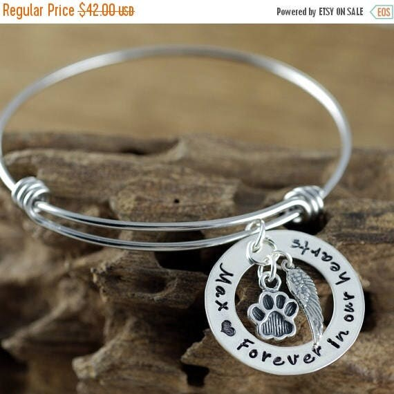 15% OFF SALE Forever in our Hearts, Personalized Pet Memorial Bracelet, Loss of Pet Jewelry, Dog Mom Gift, Hand Stamped Memorial, Pet Rememb