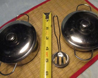 2 Small Vintage Stainless POTS and Lids and Stainless Slotted EGG SPOON sauce pans pots cottage breakfast dinging  kitchen