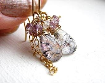 Moss Amethyst Earrings , Amethyst Earrings , White Topaz , Petite dangle Earrings , February Birthstone ,Gift for Her , Boho Earrings