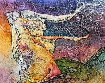 ENDLESS MOMENT Painting ZEN Inspired Watercolor on Tissue Art Gypsy Bohemian Goddess Gaia Portrait Lynne French