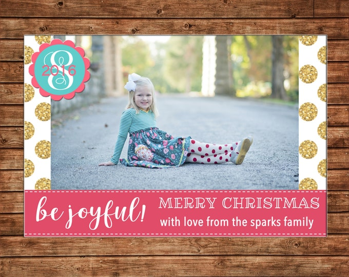 Photo Picture Merry Christmas Be Joyful Gold Glitter Polka Dot Monogram Teal Turquoise Coral - Digital File