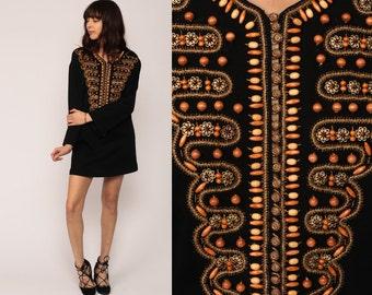 Boho Mini Dress BEADED 70s Mod Ethnic Hippie Black 60s Gold Button Up Caftan Gypsy Vintage Long Sleeve MiniDress Bohemian Large