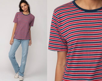 Striped TShirt 80s T Shirt RINGER Tee Hipster Retro Tee Vintage Normcore Sports 1980s Short Sleeve Red White Blue Medium Large