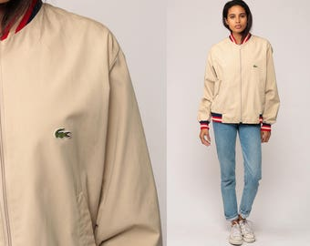 Lacoste Jacket 80s Khaki Bomber Jacket Baseball Jacket Striped Crocodile Hipster Coat Vintage 1980s Tan Medium