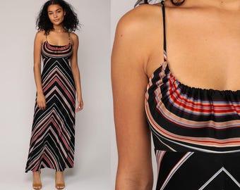 70s Maxi Dress CHEVRON Stripe Sundress Criss Cross Boho Gown 1970s Red Black Disco Empire Waist Hippie Bohemian Sun Vintage Small Medium