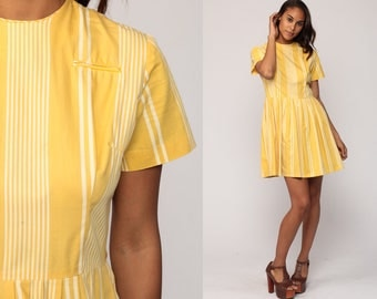 60s Dress Mod Pleated Mini Striped Day Dress Yellow White Mad Men High Waisted Fit and Flare Vintage 1960s Medium