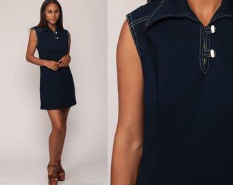 70s Mini Dress Mod Minimalist Retro 60s Shift Vintage Sleeveless Gogo Hipster Twiggy Navy Blue Plain A Line Sheath Minidress Medium Large