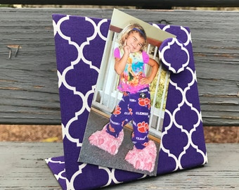 Magnetic Picture Frame - Magnet Board - Magnet Message Board - Purple Quatrefoil Message Board - Desk Accessory - Birthday Gift Idea