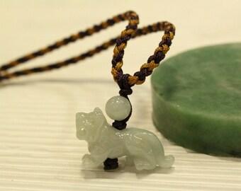 Jade Tiger Necklace ... Pastel Lavender Purple Jade /// Year of Tiger : 1938, 1950, 1962, 1974, 1986, 1998, 2010