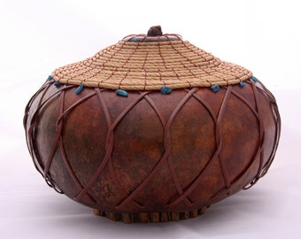 Gourd Bowl With Lid and Leather -Item 717 by Susan  Ashley