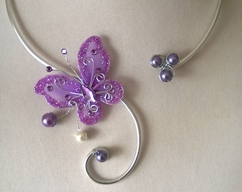 Butterfly wedding jewelry set, Lilac wedding jewelry set, Bride jewelry set, Lilac metal wire jewelry set, Lilac wedding