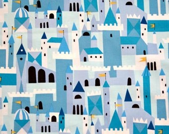 Castle Peeps in Castle Blue by Lizzy House for Andover Fabrics Cotton Fabric - 5/8 yard
