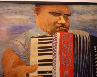 Vintage Print - Ben Shahn The Blind Accordion Player, 1945 Framed  - American realist - for art lovers - color plate  1947