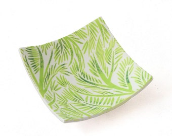 Green Ring Dish, Jewelry Dish, Trinket Dish - Ring Holder - Square Coin Tray - Palm Leaf Decor - Modern Home Decor, Fern Print, Gift for Her