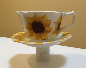Night light, White ceramic tea cup and saucer, Hand painted Sunflowers on 'tea cup' and stripes on 'saucer'