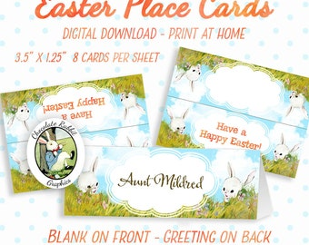 Easter Place Cards Tags Bunny Rabbit Printable Digital Download Placecards Folded Tent Dinner Table Decorations Decor Easter Party Favors