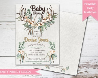 Deerly Loved Baby Shower, Dearly Loved, Rustic Deer, Boho baby, Antler Baby Shower invitation - Print Your Own