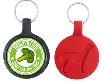 Broccoli Dog Pet ID Tag, Available in 11 Colors