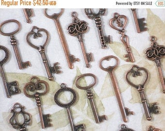 SALE 100 Skeleton Keys Copper Mid Collection 8 Styles Medium 41mm - 53mm Wedding Key Set Cottage Chic (K23 -100P)
