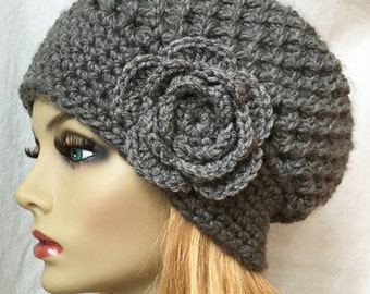 Crochet Womens Hat, Slouchy Beret, Charcoal Gray or Pick Your Color, Rose Flower, Chunky, Teens, Birthday Gifts, Gifts for Her JE407SBTF4A