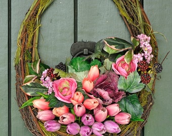 Tulip Twist - Whimsical Tulip, Kale and Rose Wreath, Spring Wreath, Easter Wreath, Easter, Garden Decor, Mother's Day Gift, Spring, Eggs