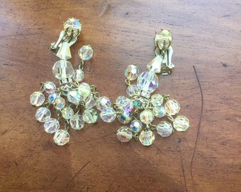 Vintage AB Aurora Borealis Crystal Bead Cluster Drop Dangling Earrings