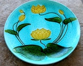 RESERVED for ELIZABETH - Vintage Majolica Plate Charger Water Lily Aqua Blue Schramberg Germany Art Pottery Gold Green 1920s