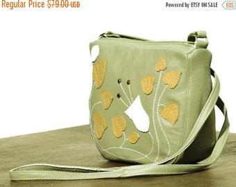 SALE women leather messenger bag purse, ladies Crossbody Bag, art nouveau bag, floral messenger, vintage sage green leather purse, summer fa