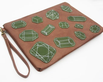 IPad Case  ipad clutch leather ipad wristlet electronics purse emerald ipad case embellished ipad case rock mineral ipad case,gift for mom