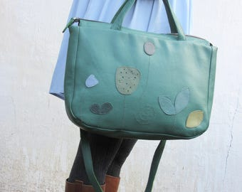 Large Leather Bag / Leather Handbag / Leather Tote in Retro Green Applique Bag,mothers day