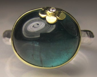 Blue Green Tourmaline Ring, 18k Gold and Sterling Silver Teal Tourmaline Cabochon Ring
