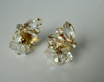 Verified Juliana DeLizza and Elster Gold tone Clear Rhinestone and  Dangling AB Crystal Beads Earrings
