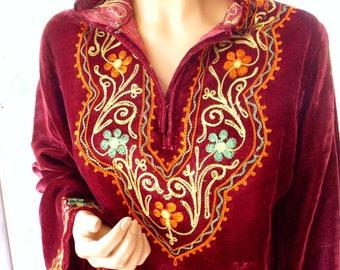 Vintage Indie Velvet Hooded Caftan with Exquisite Emboidery