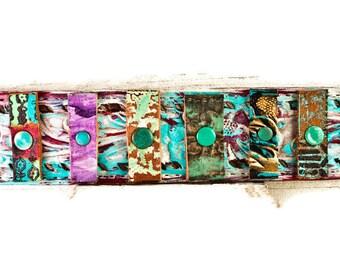 Mosaic Bracelets Wrist Cuff Gypsy Chic Handmade From Leather Belts