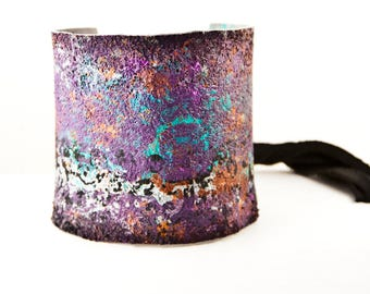 Tattoo Cover Wrist Cuff - Turquoise Purple Orange Silver Black