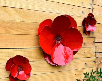 Outdoor Metal Flower Wall Art Captivating Outdoor Metal Art  Etsy Decorating Inspiration