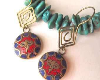 Buddha Eye Earrings in Lapis, Coral, and Brass