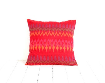 Ikat, Pillow, Cushion, Eclectic, Ethnic, Bohemian, Global Decor, Indonesian Textiles, Red