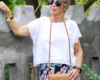 LINEN, Irra Box Top, Dropped Shoulder, Resort Wear, Tropical Clothing, International Sizes 4-26