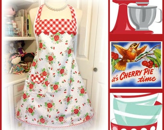 Retro Woman's BBQ apron in Riley Blake fabric Mother's Day, birthdays, wedding, housewarming gifts home and living