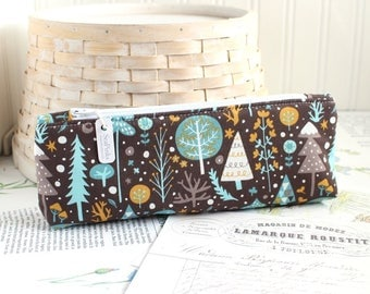 Brown Woodland Trees Pencil Case Blue and Brown Pencil Pouch Tree Pencil Case Purse Organizer