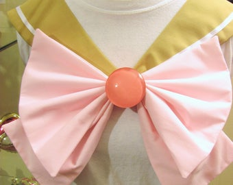 Disney Inspired Sailor Scout Belle - Gold Collar, Light Pink Bow, Pink Brooch.