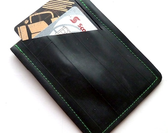Mini Wallet Green Stitching Bicycle Inner Tube Recycled
