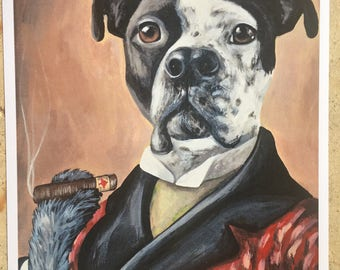 Spring Clearance Print of original painting Dog in smoking jacket cigar