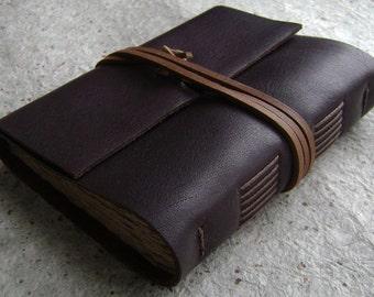 "Leather journal, rustic dark brown, 4"" x 6""journal, travel journal, old world journal (2345)"